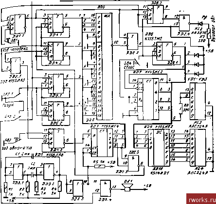 """Принципиальнал схема автомата для игры  """"Баше """".  Принципиальная схема такого игрового автомата изображена на рис, 55..."""